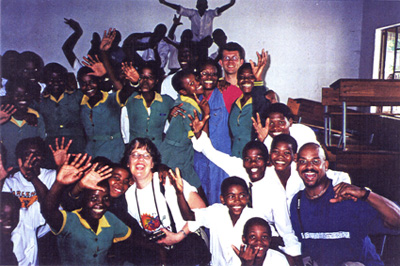 CAT staff with students in a South African school