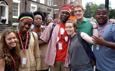 Youth Theatre members with new friends in Liverpool