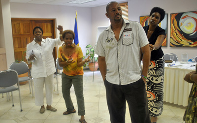 Gwendolen with Barbadian Drama Teachers