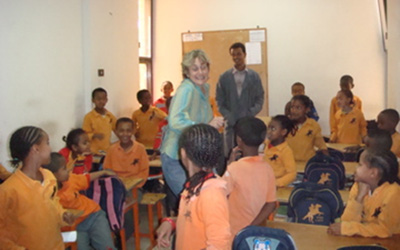 Helen Wheelock with students in Ethiopia